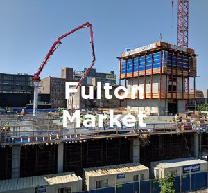 Office building under construction in Chicago's Fulton Market