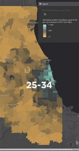 Chicago-area residential density map for persons aged 25-34 years